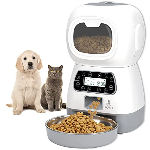 FIOVIEL Automatic Cat Feeder, 3.5L Pet Food Dispenser for Cats and Dogs,...