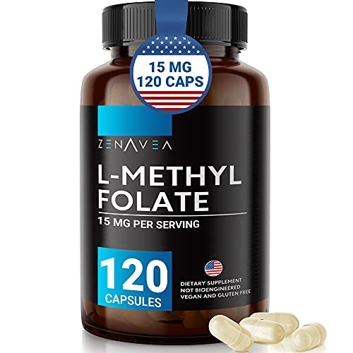 L-Methylfolate 15mg (120 Vegan Capsules) - Max Absorption and Potency - L...
