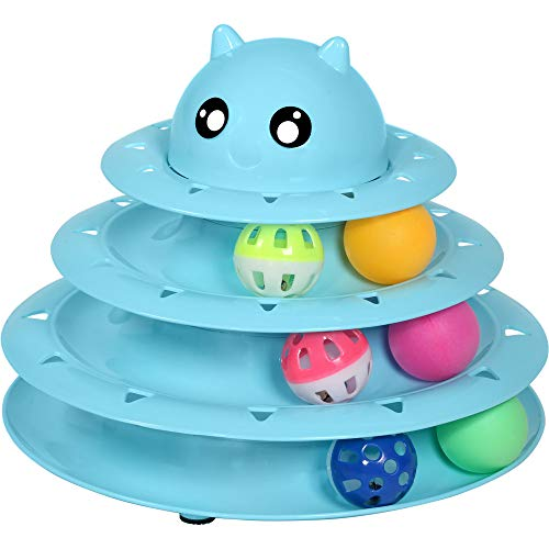 UPSKY Cat Toy Roller 3-Level Turntable Cat Toy Balls with Six Colorful...