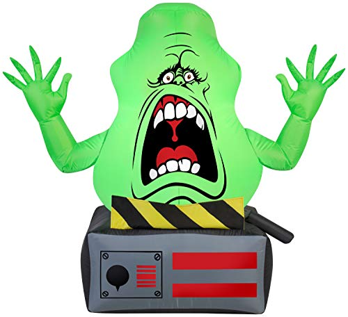 Gemmy Airblown Slimer Ghost on Ghost Trap Ghostbusters, 3.5 ft Tall, Green