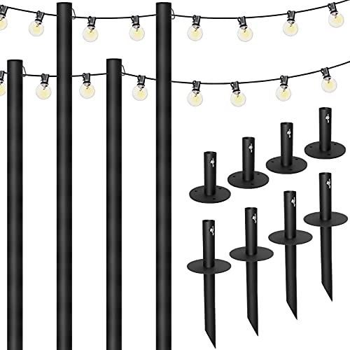 Excello Global Bistro String Light Poles - 4 Pack - Extends to 10 Feet -...