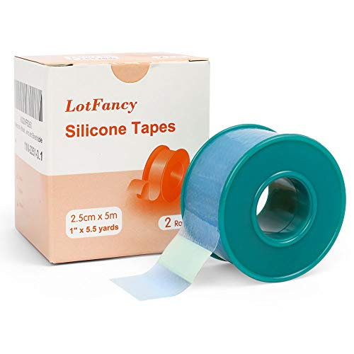"""2Rolls 1""""×5.5 Yds LotFancy Medical Silicone Tape, Waterproof Adhesive..."""