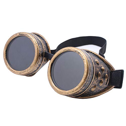 TBWHL Diamond Lens Vintage Steampunk Goggles Glasses Welding Gothic-Copper