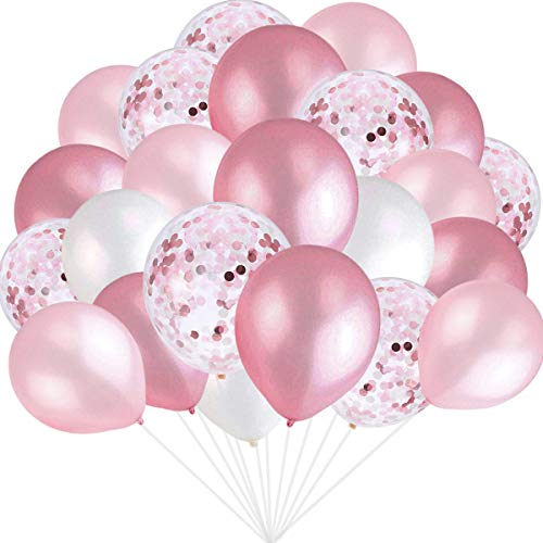 Pink and White Balloons, Pink Confetti Balloons White Balloons Total 90 pcs...