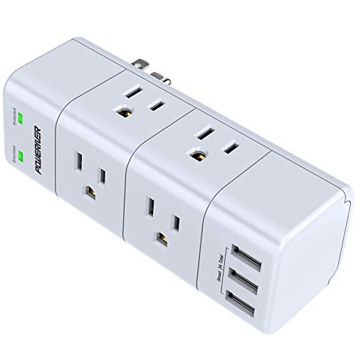 Surge Protector Wall Mount , Outlet Splitter with Rotating Plug, POWERIVER...