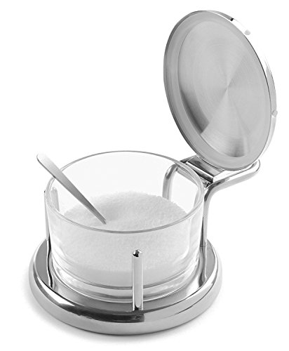 Glass Salt Server with Lid and Spoon Stainless Steel Serving Bowl Great for...