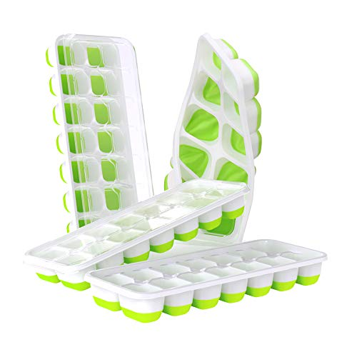 DOQAUS Ice Cube Trays 4 Pack, Easy-Release Silicone & Flexible 14-Ice Cube...