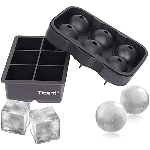 Ticent Ice Cube Trays (Set of 2), Silicone Sphere Whiskey Ice Ball Maker...