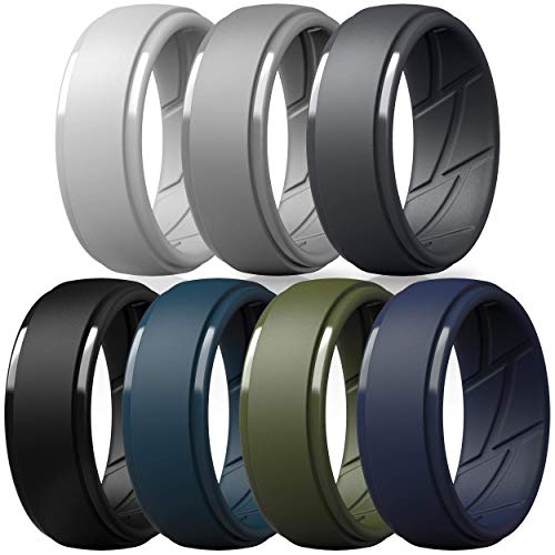 ThunderFit Silicone Wedding Ring for Men, Breathable with Air Flow Grooves...