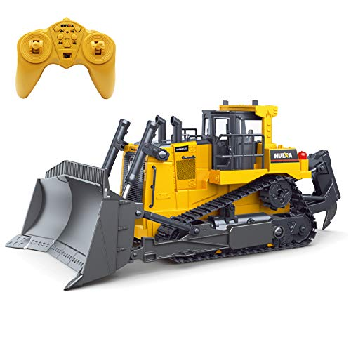 Fisca Remote Control Bulldozer RC 1/16 Full Functional Construction...