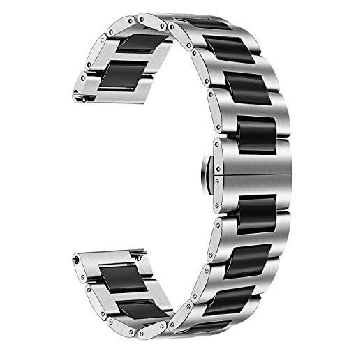 TRUMiRR Band for Galaxy Watch 3 45mm Men, 22mm Stainless Steel & Ceramic...