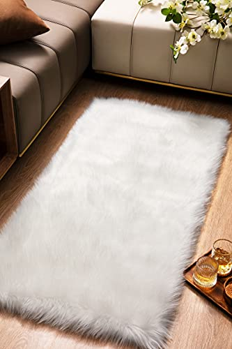Super Soft White Fluffy Rug Faux Fur Area Rug, Fur Rugs for Bedroom, Fuzzy...
