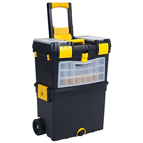Rolling Tool Box with Wheels, Foldable Comfort Handle, and Removable Top...