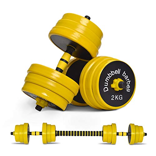 Nice C Adjustable Dumbbell Barbell Weight Pair, Free Weights 2-in-1 Set,...