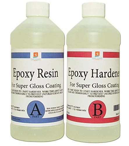 EPOXY RESIN CRYSTAL CLEAR 16 oz Kit. FOR SUPER GLOSS COATING AND TABLETOPS