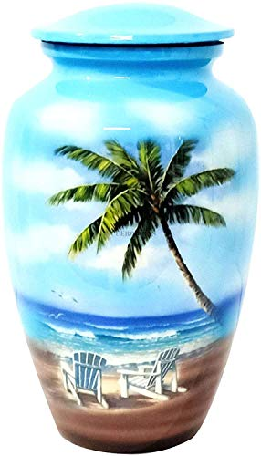 hlc URNS – Lovely Beach Blue Cremation Urn for Human Ashes - Adult...