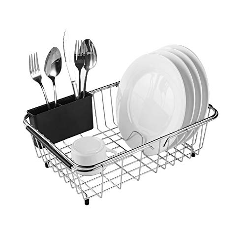 Adjustable Over Sink Dish Rack Stainless Steel Dish Drying Rack On Counter...