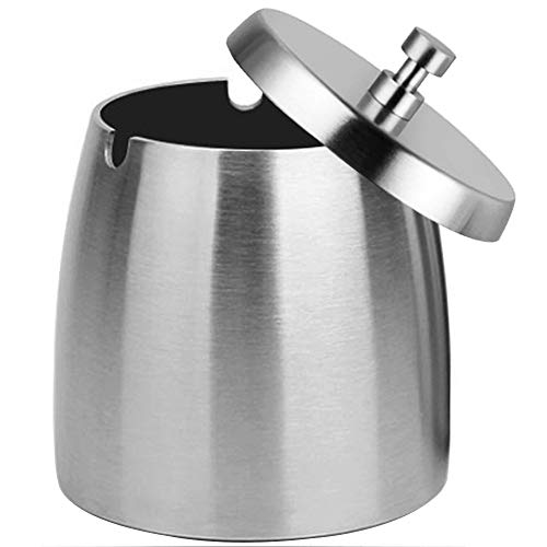 Outdoor Ashtray with Lid for Cigarettes,Stainless Steel Windproof/Rainproof...
