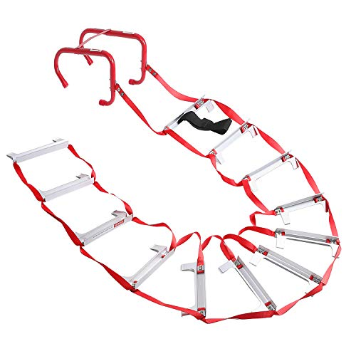 2 Story Fire Escape Ladder with Anti-Slip Rungs, Emergency Escape Ladder...