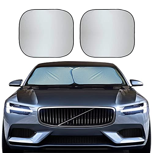 EcoNour Foldable 2-Piece Car Windshield Sunshade | Durable 240T Polyester...