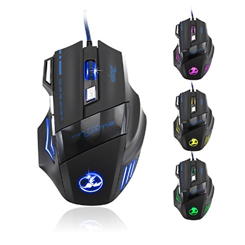 Zelotes 5500 DPI 7 Button LED Optical USB Wired Gaming Mouse Mice for Pro...
