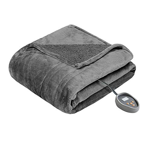 Beautyrest Microlight to Sherpa Reversible Electric Blanket Throw,...