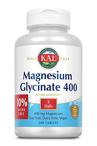 KAL Magnesium Glycinate 400   Vegan, Chelated, Non-GMO, Soy, Dairy, and...