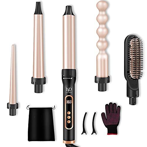 LAYADO 5 in 1 Curling Iron, Curling Wand Set with Hair Straightener Brush,...
