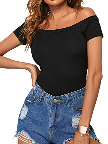 Women's Short Sleeve Vogue Fitted Off The Shoulder Modal Blouse Top T-Shirt
