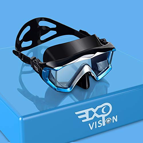 EXP VISION Adult Pano 3 Panoramic View Diving Mask, Tempered Glass Lens...