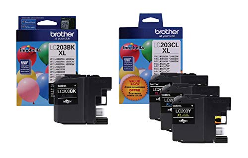 Brother LC203 Ink Cartridge (Black, Cyan, Magenta, Yellow, 4-Pack) in...