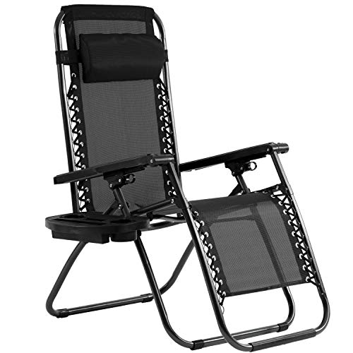 Zero Gravity Chair Lounge Patio Chairs with Canopy Cup Holder