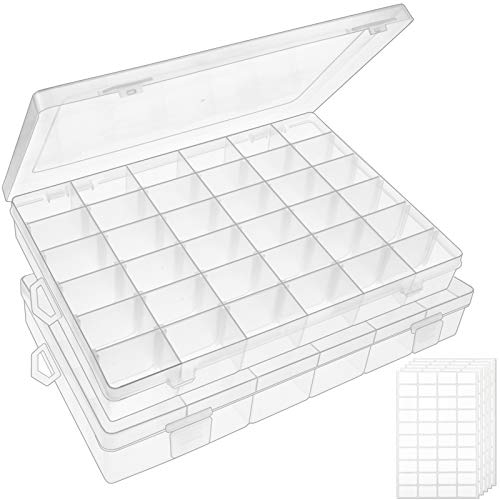 Outuxed 2pack 36 Grids Clear Plastic Organizer Box Storage Container...