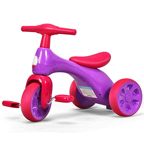 Costzon Kids Tricycle, Baby Balance Bike Walker with Foot Pedals, BB Sound...