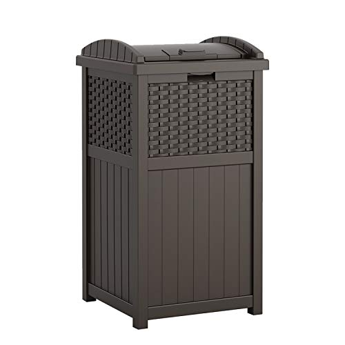 Suncast 33 Gallon Hideaway Can Resin Outdoor Trash with Lid Use in...