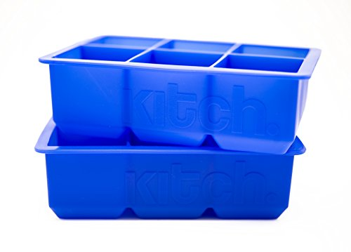 Large Cube Silicone Ice Tray, 2 Pack by Kitch, Giant 2 Inch Ice Cubes Keep...