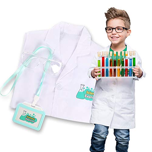 Lab Coat for Kids Scientist Costume with Goggle and Personalized ID Card...