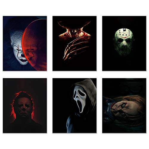 Horror Movie Villain Prints - Set of 6 (8 inches x 10 inches) Pictures -...