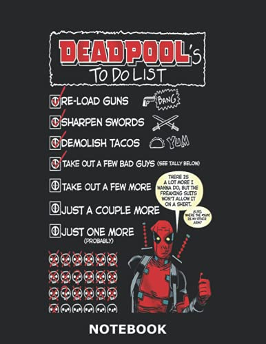 Deadpool Notebook: Deadpool Composition Notebook -120 Pages - Large 8.5 x...