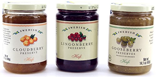 Hafi Variety Pack Preserves Lingonberry, Wild Cloudberry, Gooseberry...