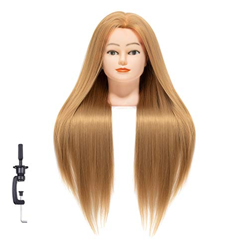 LZGYE 26-28' Cosmetology Mannequin Head with Synthetic Hair and Adjustable...
