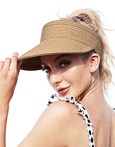Straw Visor Hats for Women, Foldable Wide Brim Roll-up Beach Ponytail Hats...