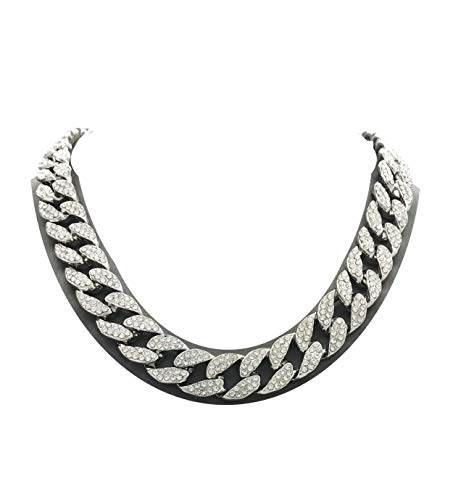 Mens Iced Out Hip Hop Silver tone CZ Miami Cuban Link Chain Choker Necklace...