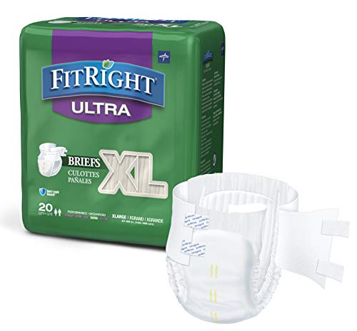 FitRight Ultra Adult Diapers, Disposable Incontinence Briefs with Tabs,...