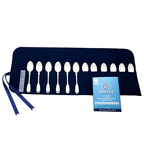 Town Talk 12 Section Silver Teaspoon or Salad Fork Storage Roll, Blue