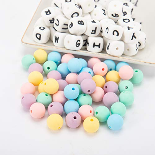 102pcs Silicone Teether Beads- 12mm Babe Teething Silicone Alphabet Letter...