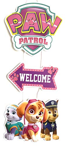 Pink Skye Paw Patrol Birthday Welcome Poster Door Decoration Wall Poster...