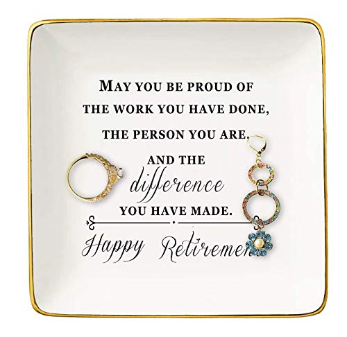 Happy Retirement Gifts for Women – Ceramic Jewelry Holder Ring Dish...