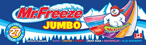 Mr. Freeze Jumbo Ice Pops 27x150ml Freezies {Imported from Canada}