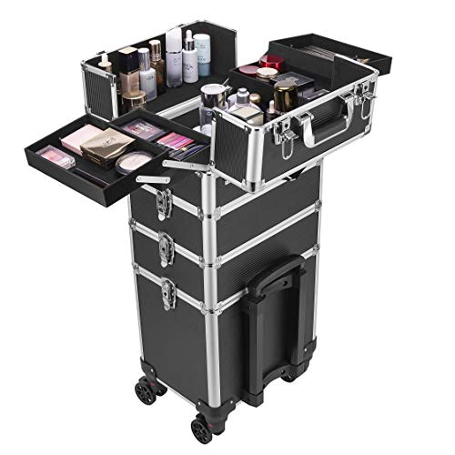 VIVOHOME 4 in 1 Makeup Rolling Train Case Aluminum Trolley Professional...